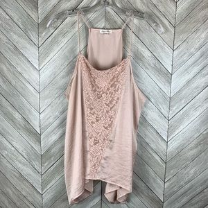 Skylar + Jade pink lace detail tank top